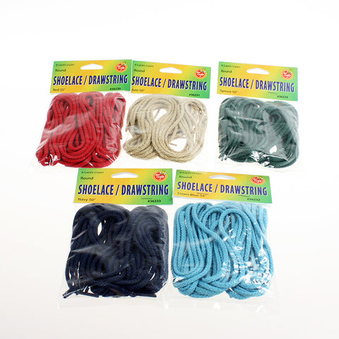 "50"" to 55"" Round Laces & Drawstrings ($3.99 retail, $1.70 cost x 24 packs / case)"