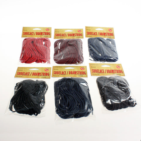 "60"" to 78"" Round Laces & Drawstrings ($4.99 retail, $2.00 cost x 24 per case)"