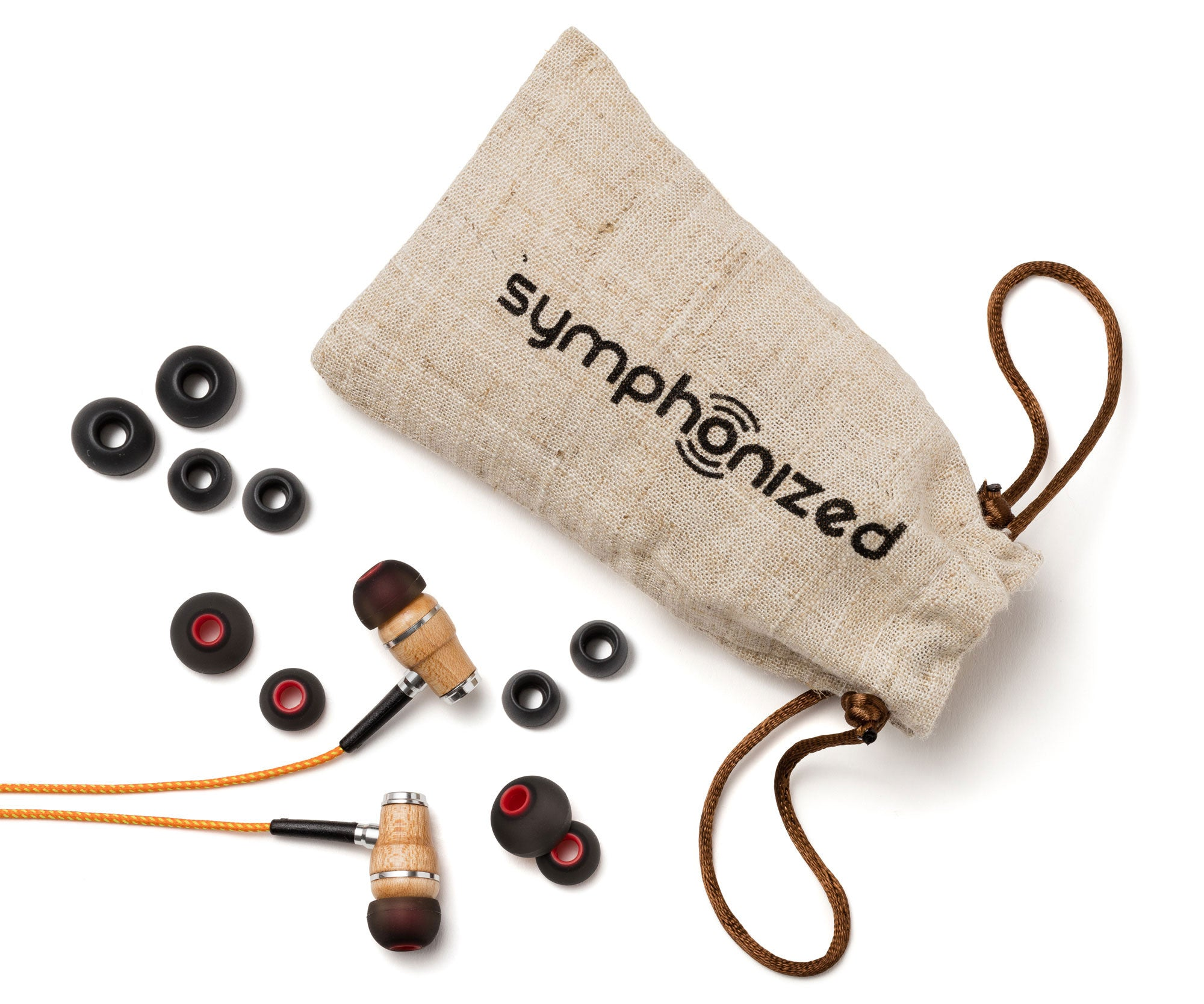 Wood Earbuds Orange Stripe