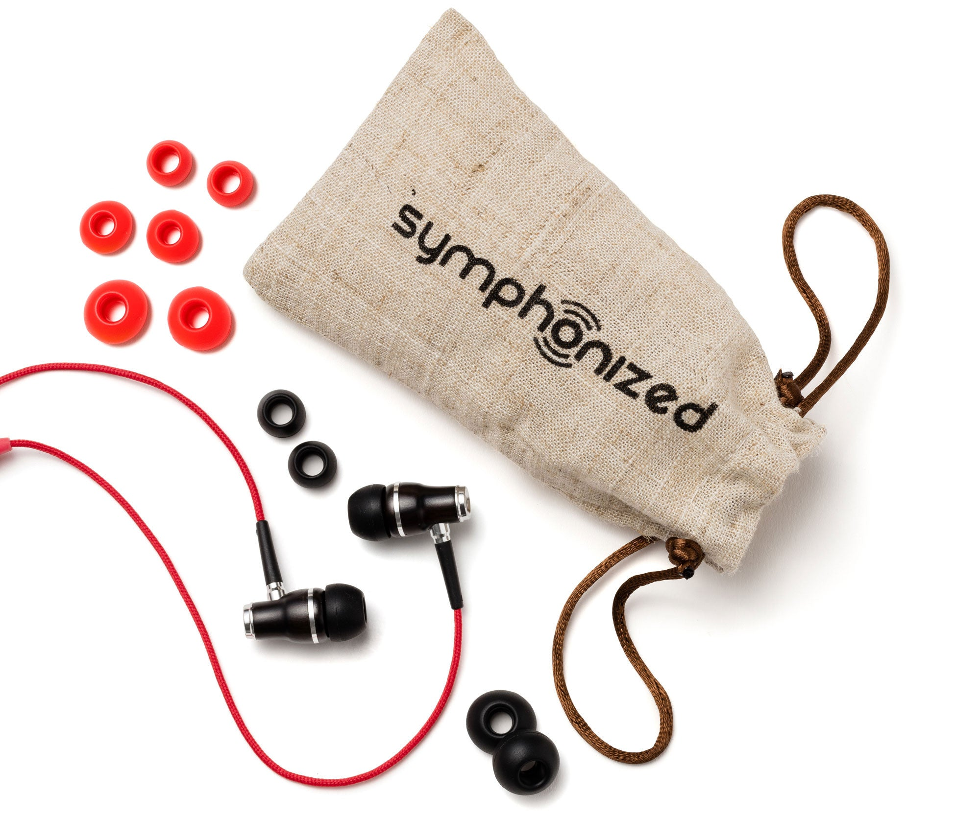 Wood Earbuds Red