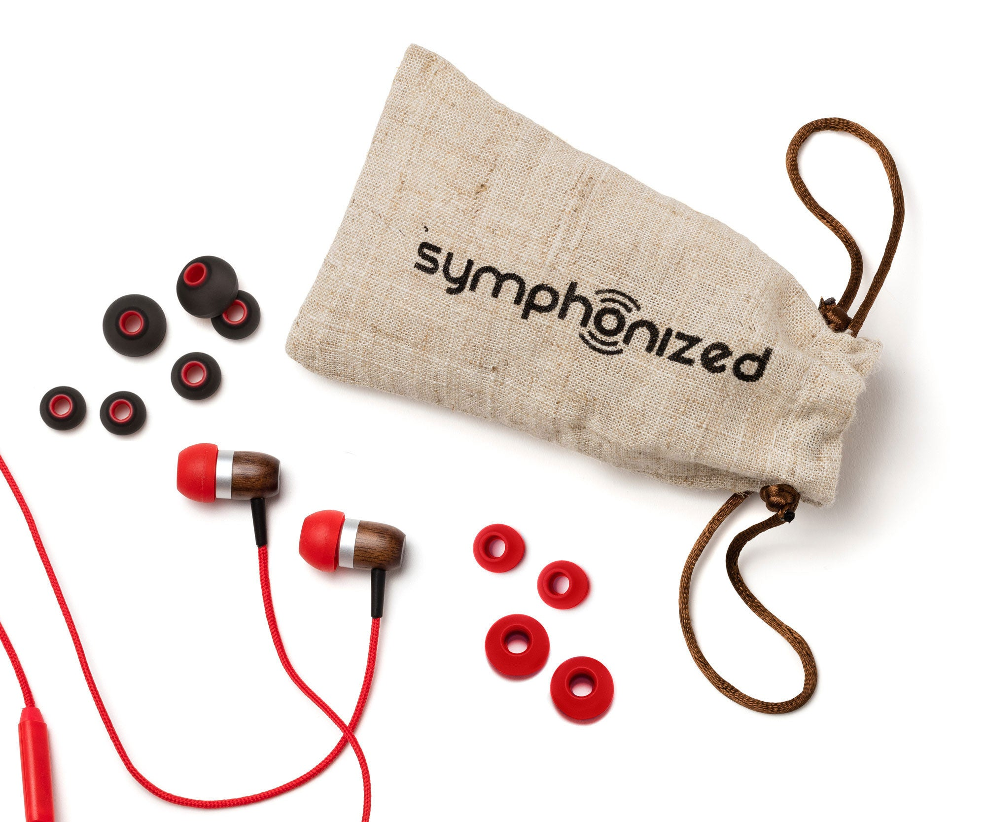 GLXY In-Ear Wood Headphones - Red