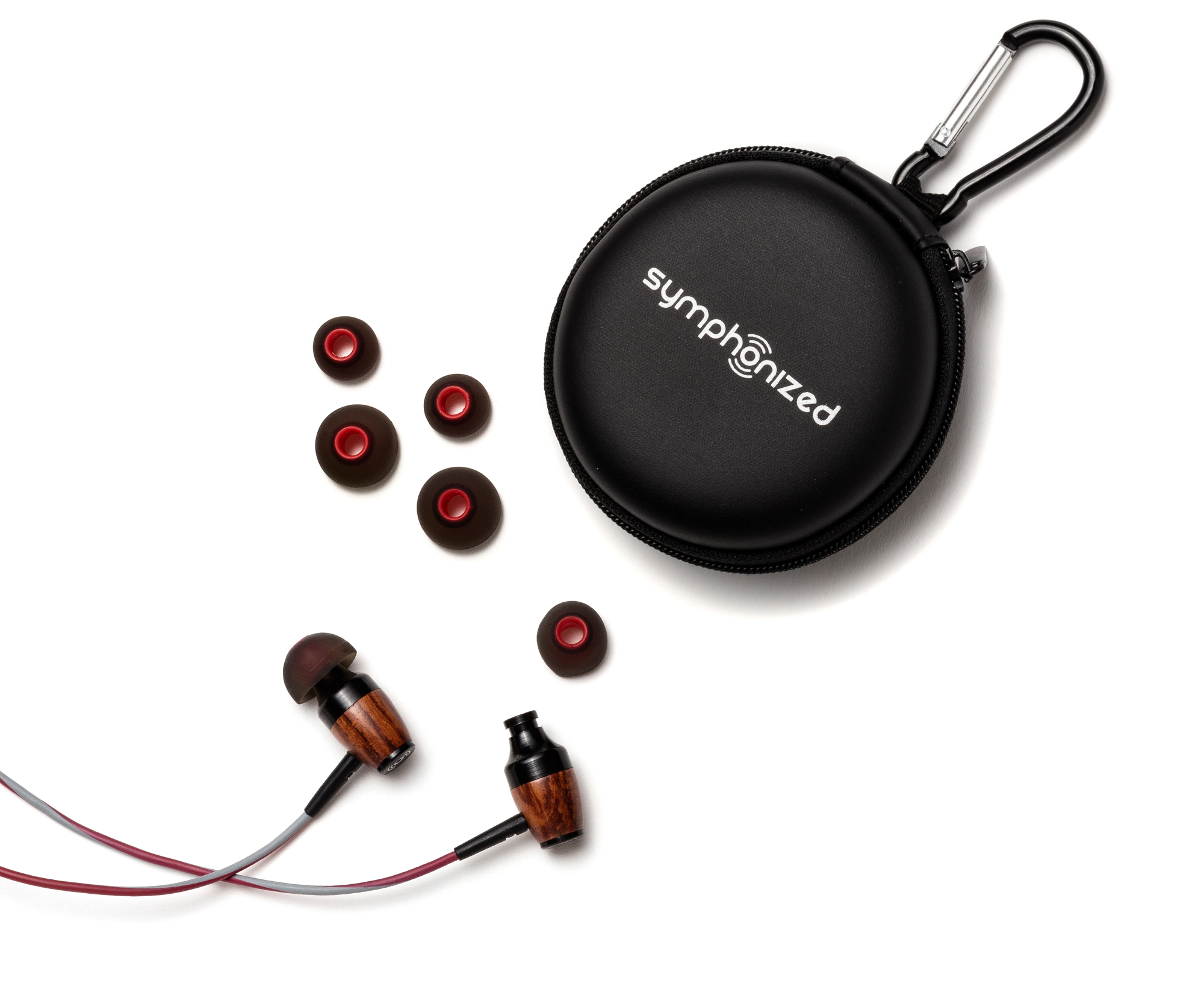 DRM In-Ear Wood Headphones - Gray and Red