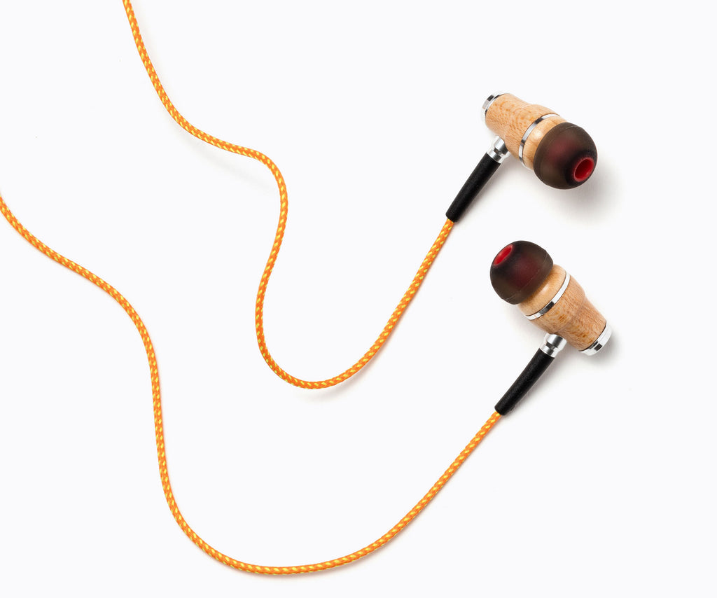 NRG In-Ear Wood Headphones - Orange Stripe