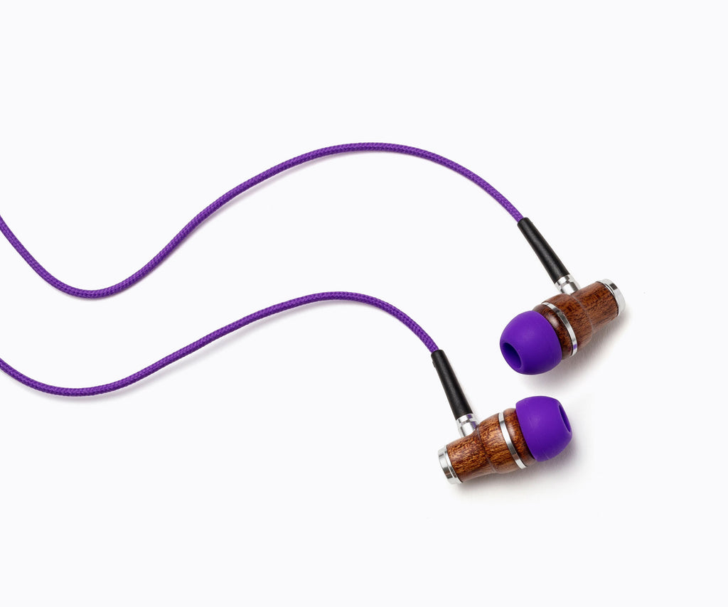 NRG In-Ear Wood Headphones - Purple
