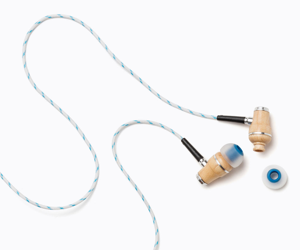 NRG In-Ear Wood Headphones - Blue Stripe