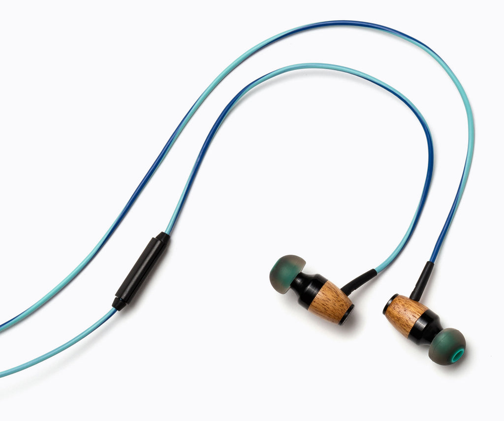 DRM In-Ear Wood Headphones - Teal and Blue