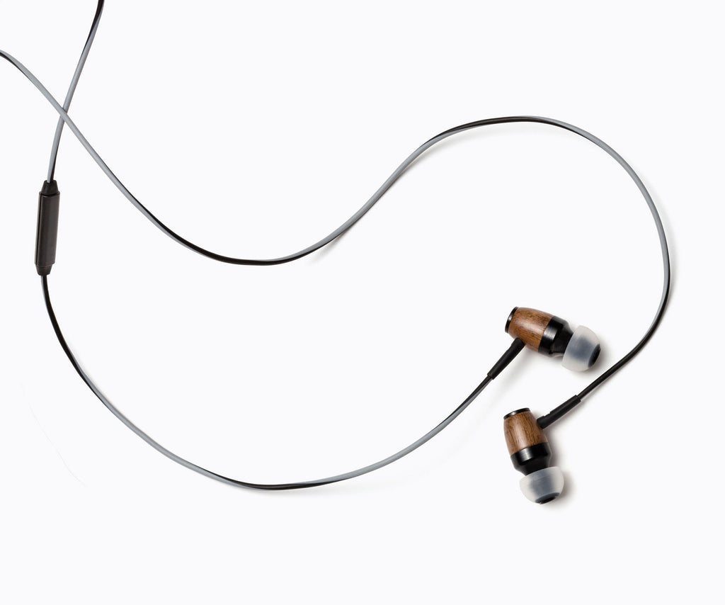 DRM In-Ear Wood Headphones - Gray and Black