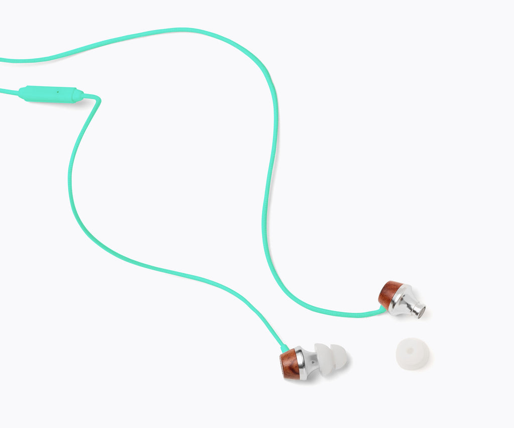 ALN In-Ear Wood Headphones - Turquoise Blue