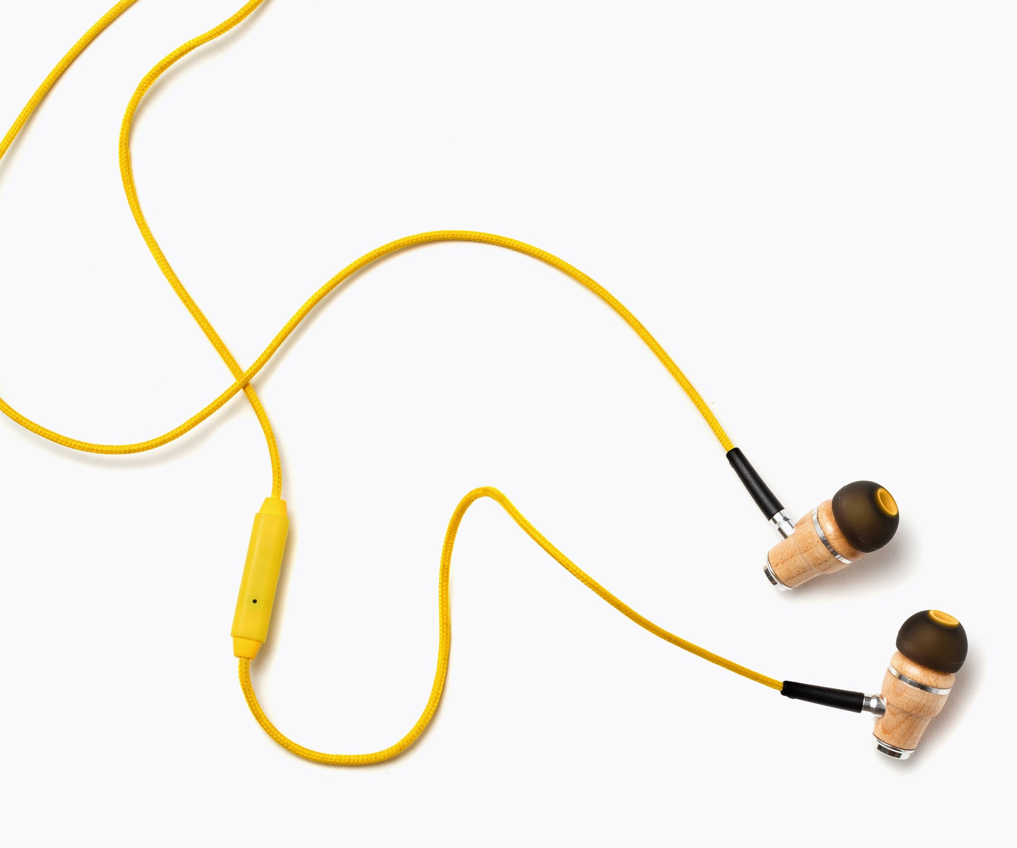 NRG In-Ear Wood Headphones - Dark Yellow