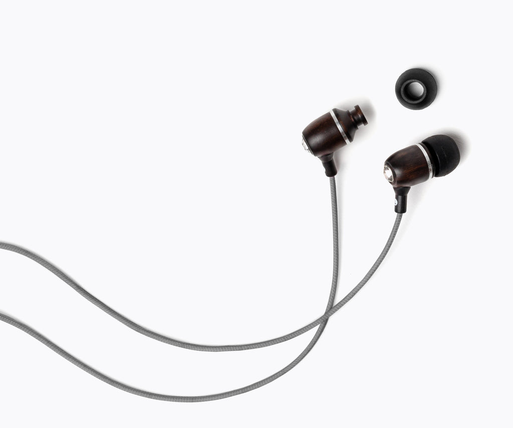 Bling In-Ear Wood Headphones - Gray