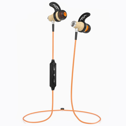 NRG 2.0 Bluetooth Wireless In-ear Wood Headphones - Orange