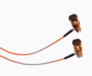 NRG 3.0 In-Ear Wood Headphones - Orange and Gray