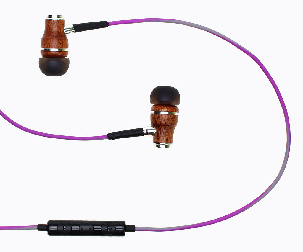 NRG 3.0 In-Ear Wood Headphones - Purple and Gray