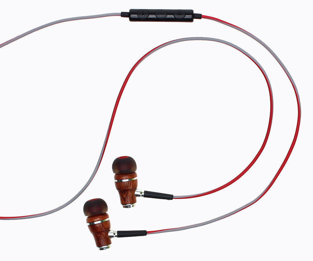 NRG 3.0 In-Ear Wood Headphones - Red and Gray