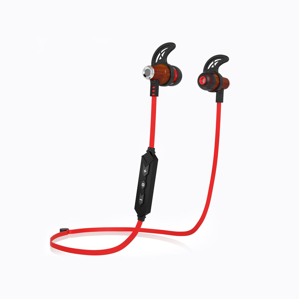 NRG Bluetooth Wireless In-ear Wood Headphones - Red