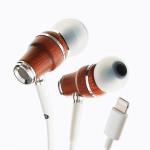 NRG MFI In-Ear Wood Earbuds with Lightning Connector - White
