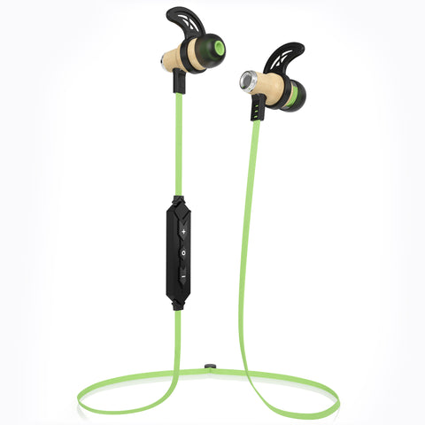 NRG Bluetooth Wireless In-ear Wood Headphones - Green