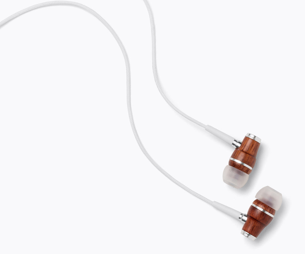 NRG In-Ear Wood Headphones - White