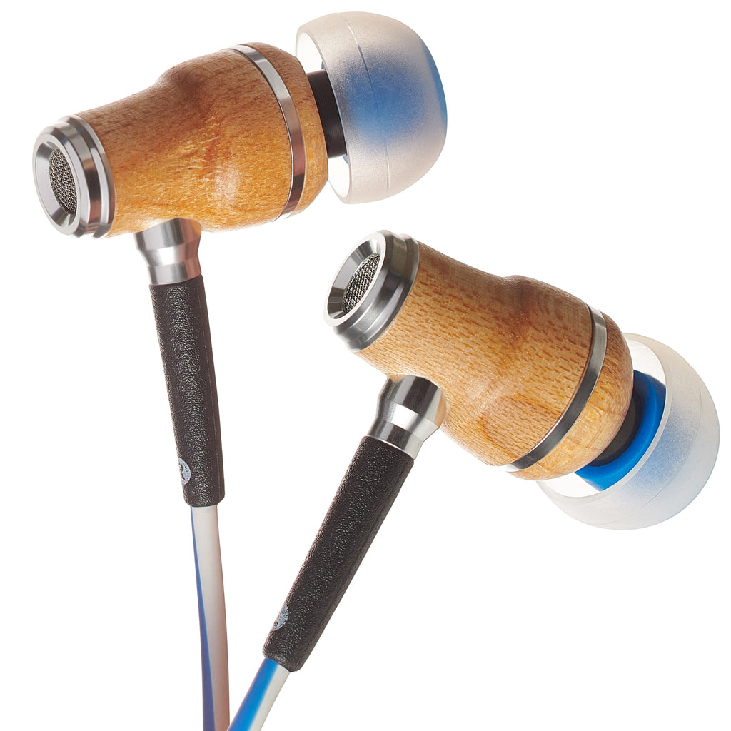 NRG X In-Ear Wood Headphones - Blue and White