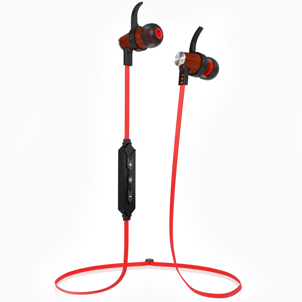 XTC Bluetooth Wireless In-ear Wood Headphones - Red