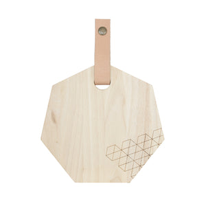 Polygon Cutting Board (Small) w/ Leather Strap