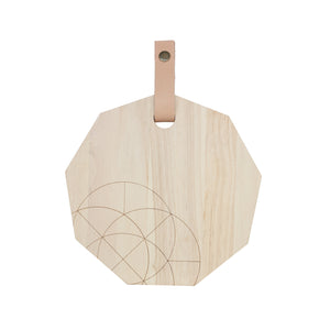 Polygon Cutting Board (Medium) w/  Leather Strap