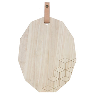 Polygon Cutting Board (Large) w/  Leather Strap
