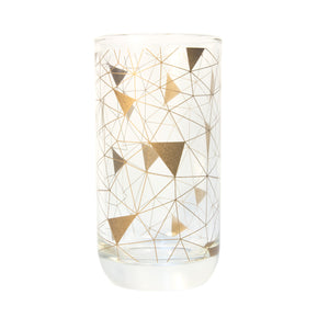 High Ball Geometric Copper Triangles Glass Set of 6