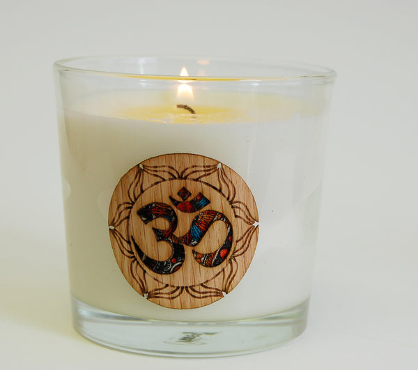 OM  Candle Filled in Glass Vessel
