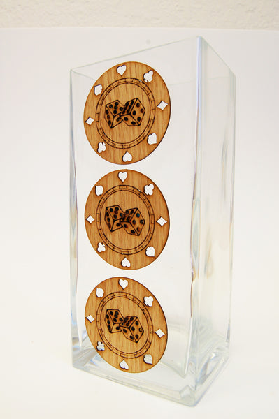 POKER CHIPS Glass Vase