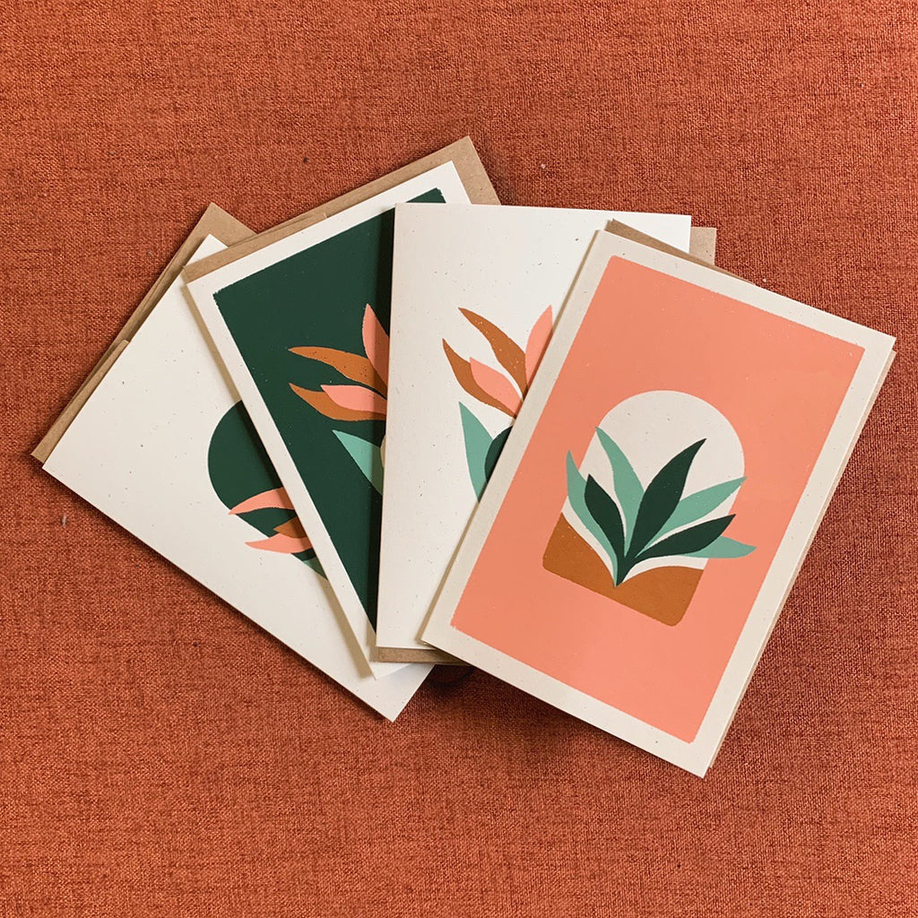 Screen printed Notecards Set of 4