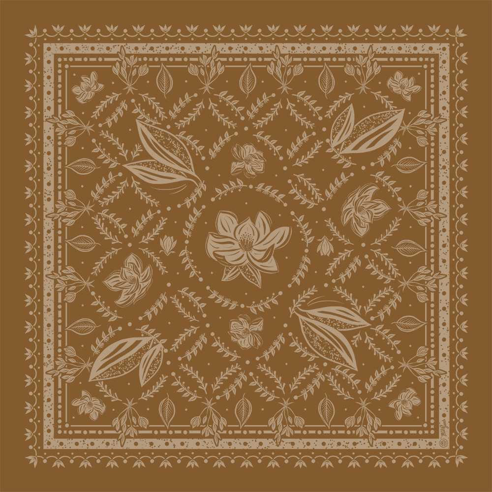 Classic Magnolia Bandana, Fall Orange ed.24