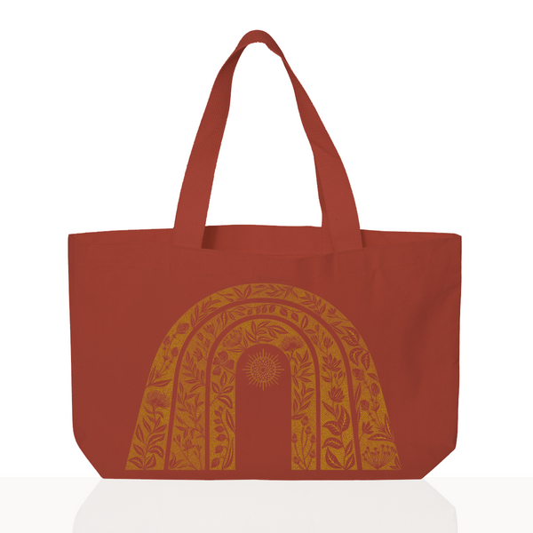 Sunshine Tote - Hand Dyed Red/Orange