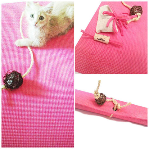 Pink Yoga Cat Mat Toy Gift Set for Cats