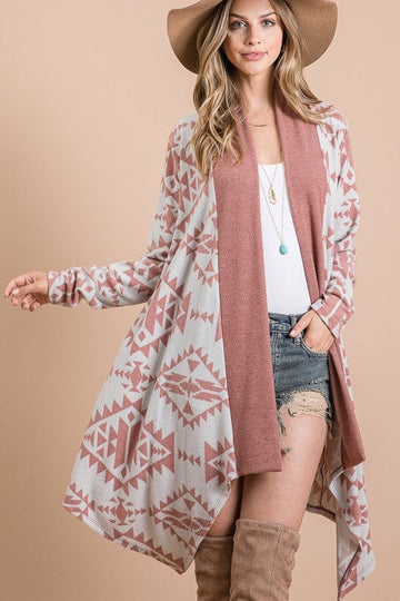 Dusty Mauve Aztec Cardigan