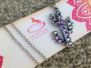Saguaro Sparkle Cactus Necklace