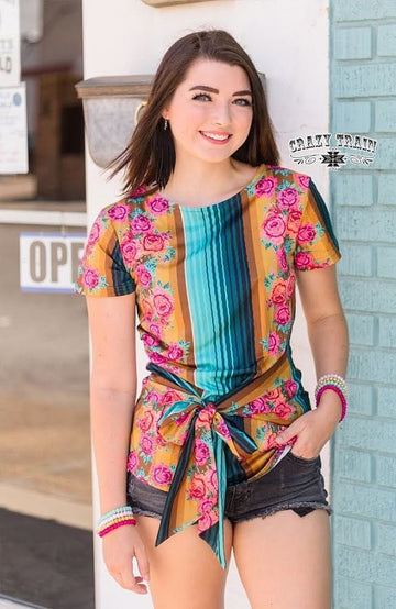 Sweet Serape Rose Top
