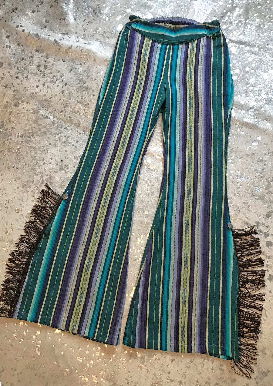 Authentic Serape Fringed Bells in Plum/Teal