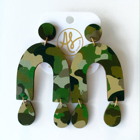 Bela Earring- Camo, Mustard Dot and Blue