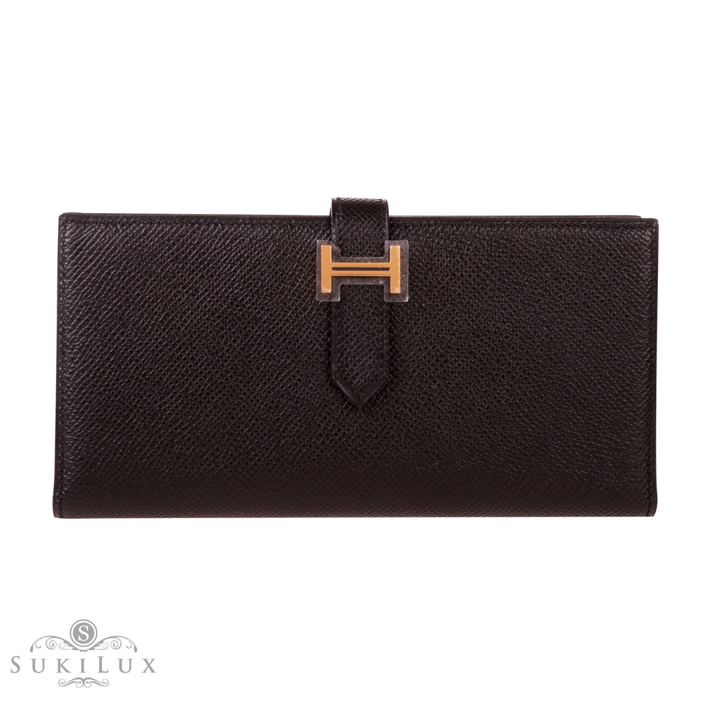 Hermès Bearn Wallet Noir Black 89 Epsom Gold Hardware
