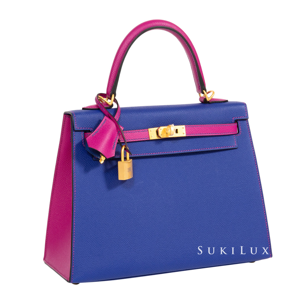 HERMÈS KELLY 25CM VEAU EPSOM 7T BLEU ELECTRIC/L3 ROSE POURPRE BI-COLOR GOLD HARDWARE