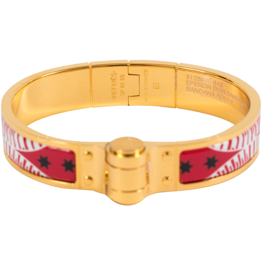 Hermès Hinged Enamel Bracelet Narrow Eperon D'OR Bandana Rouge Gold Plated