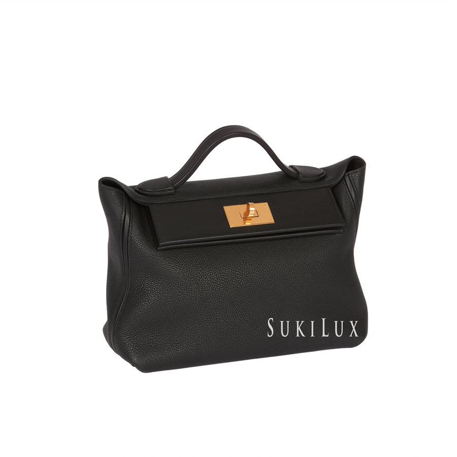 HERMES Togo Swift 24/24 Noir 89 Gold Hardware