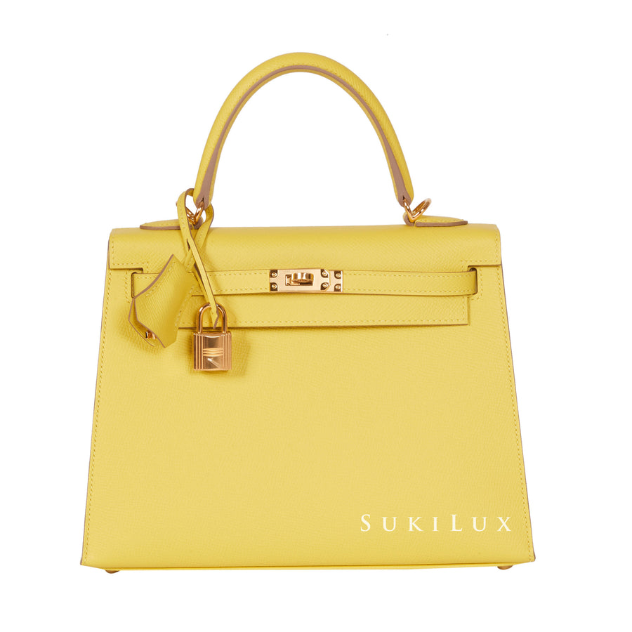 Hermès Kelly 25cm Sellier Veau Epsom 9R Lime Gold Hardware