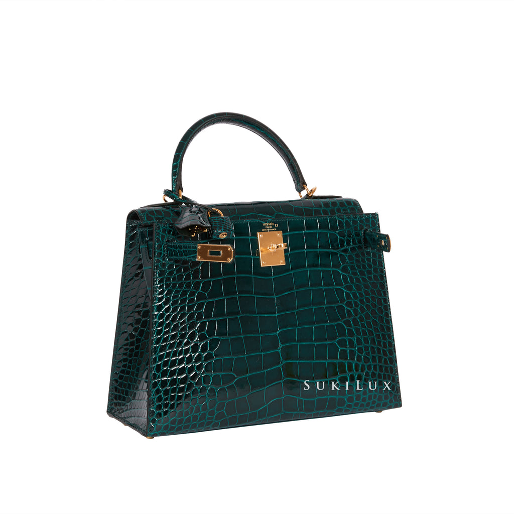 Hermès Kelly 28cm Sellier Crocodile Alligator Mississippiensis Lisse 60 Vert Cypres Gold Hardware