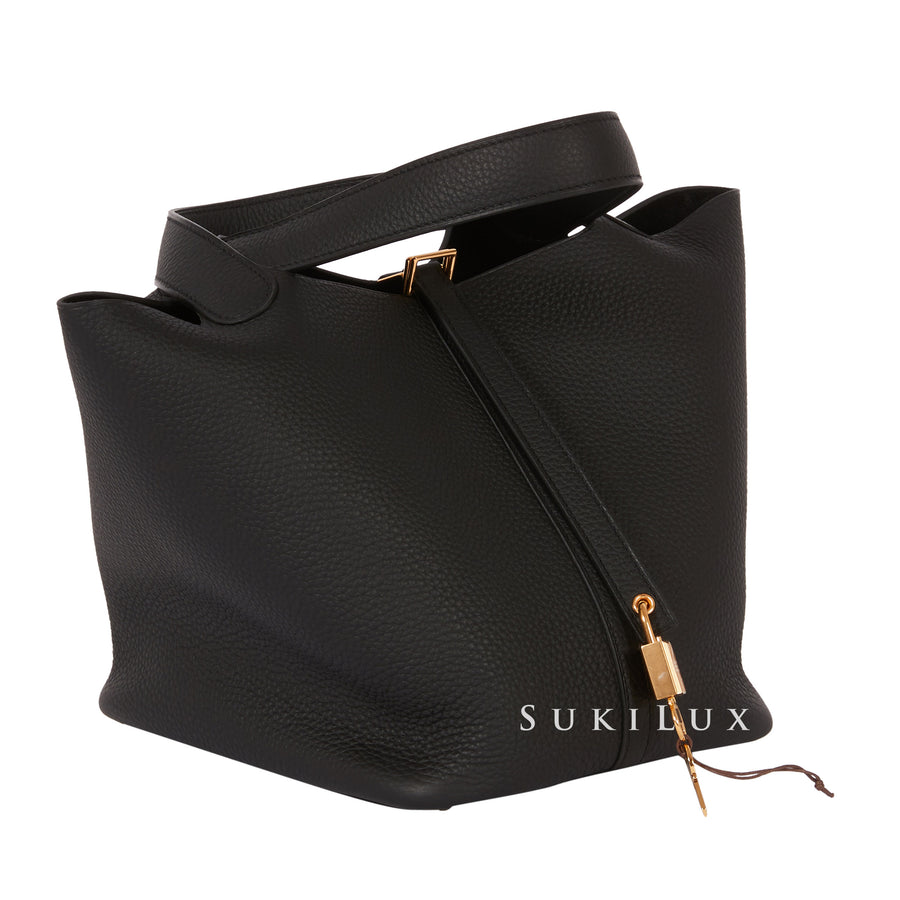 Hermès Picotin Lock Noir 22cm Clemence Leather Gold Hardware