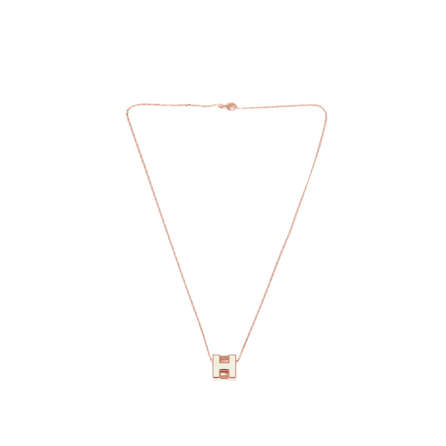 Hermès Cage D H Pendant Necklace White ROSE GOLD PLATED WITH SOFT CHAIN