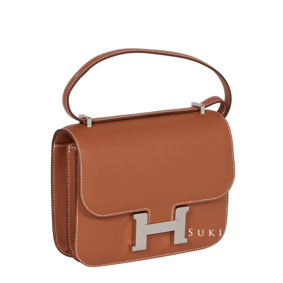 HERMèS CONSTANCE III MINI 18CM VEAU EVERCOLOR GOLD 37 PALLDIUM HARDWARE
