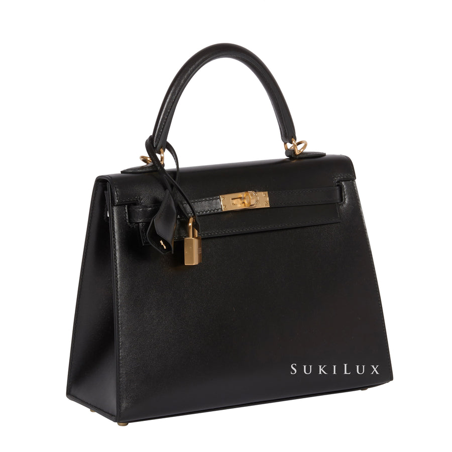 HERMèS KELLY 25CM SELLIER VEAU BOX NOIR 89 GOLD HARDWARE