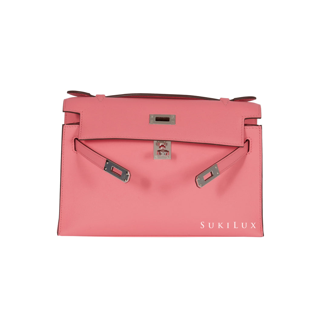 HERMèS MINIKELLY POCHETTE ROSE AZALEE 8W SWIFT LEATHER PALLADIUM HARDWARE